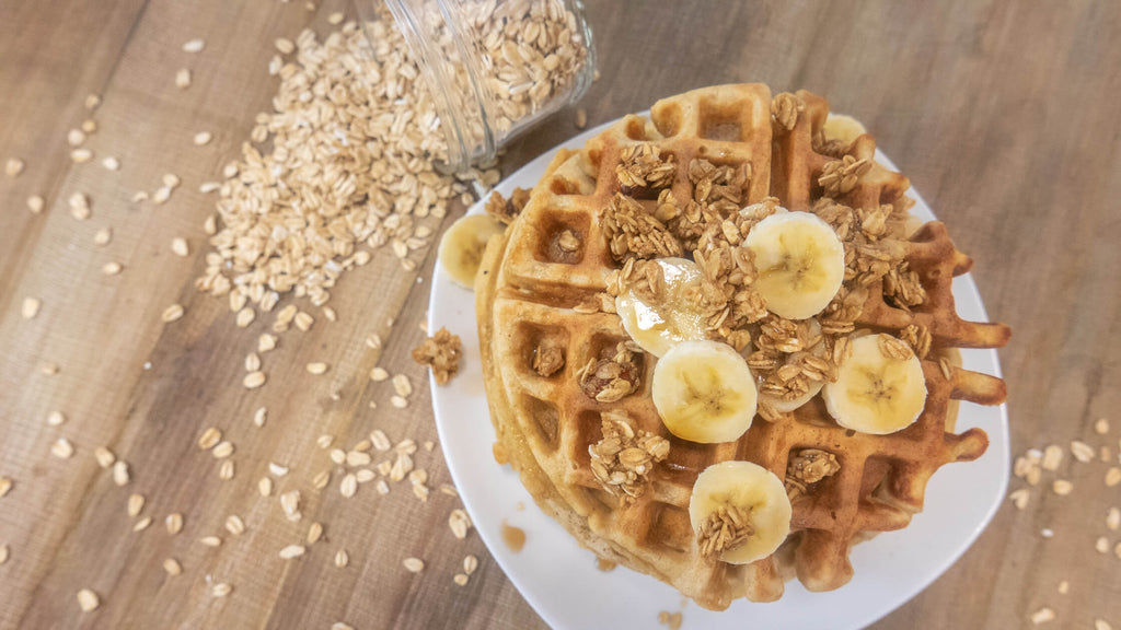 oat waffles topped with granola