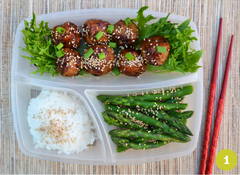 Japanese Meatballs with Rice & Asparagus Bento Box