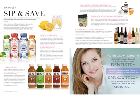 Bella Magazine features BRU in May/June 2018 article 'Sip & Save'