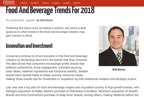 BRU included in Food And Beverage Trends For 2018