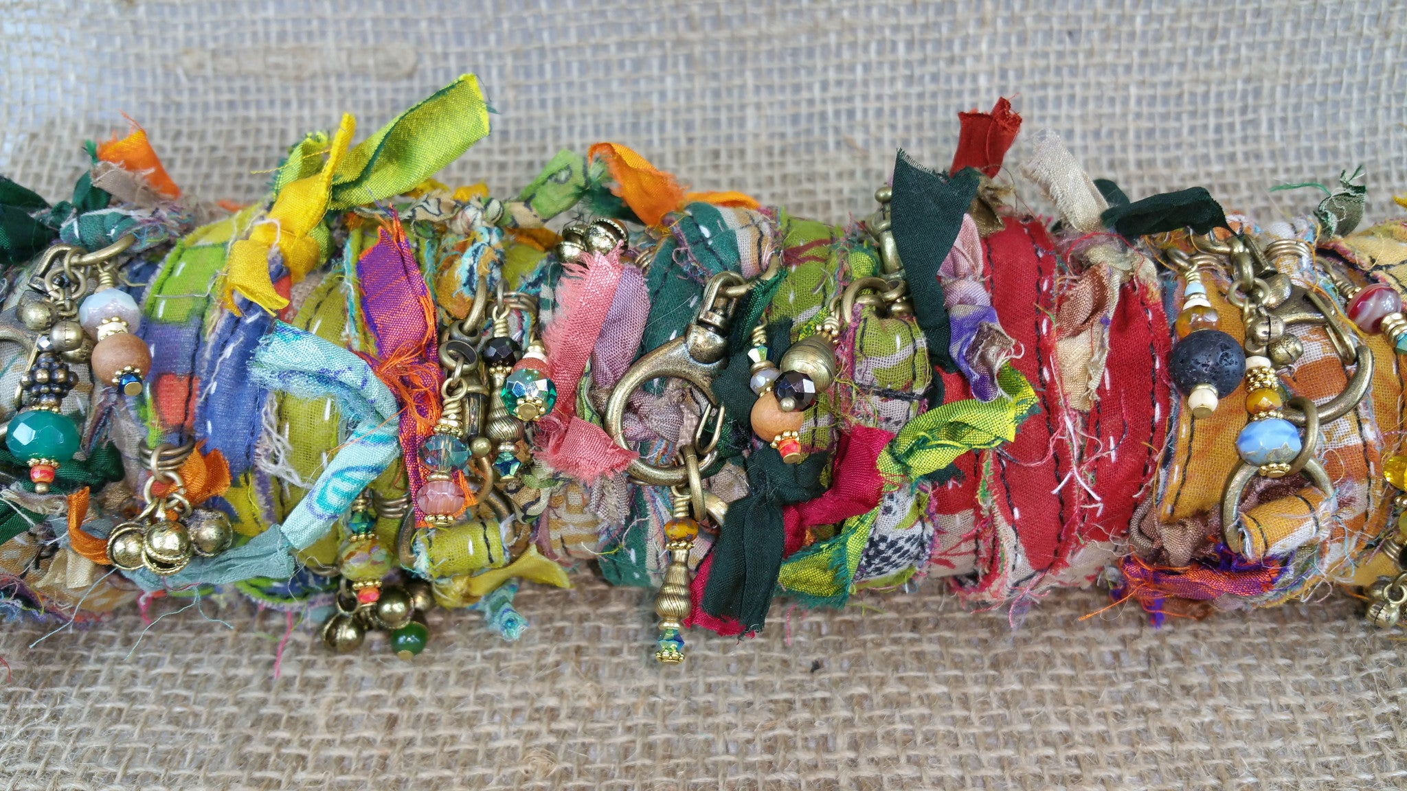 Kantha Cloth Wrapped Bracelet