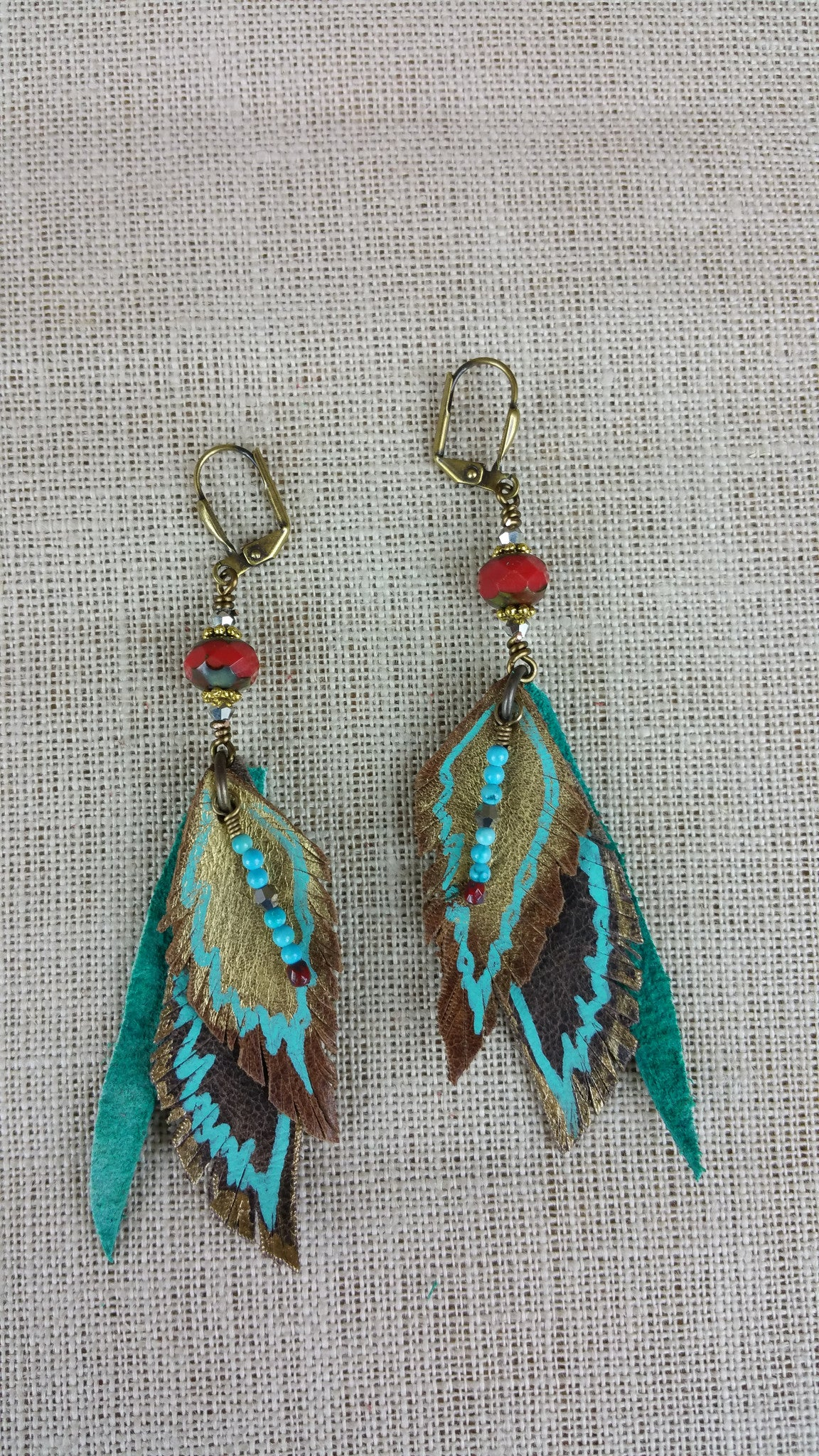 Red & Teal Signature Leather Earrings
