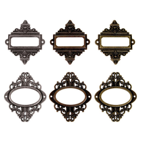 TIM HOLTZ: Idea-Ology Metal Ornate Plates W/Brads 6pk