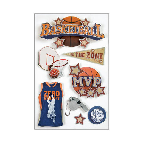 "PAPER HOUSE: 3D Stickers 4.5"" X 7.5"" (Basketball)"