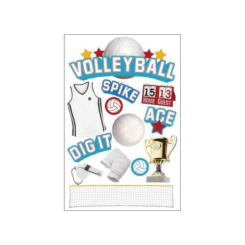 "PAPER HOUSE: 3D Stickers 4.5"" X 7.5"" (Volleyball)"