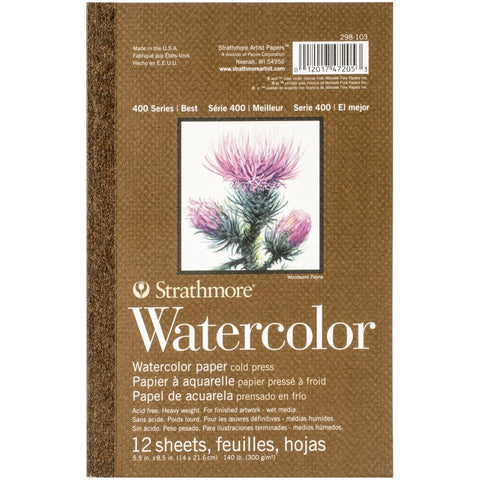 "STRATHMORE: Watercolor Paper Pad 400 Series 5.5"" x 8.5"""