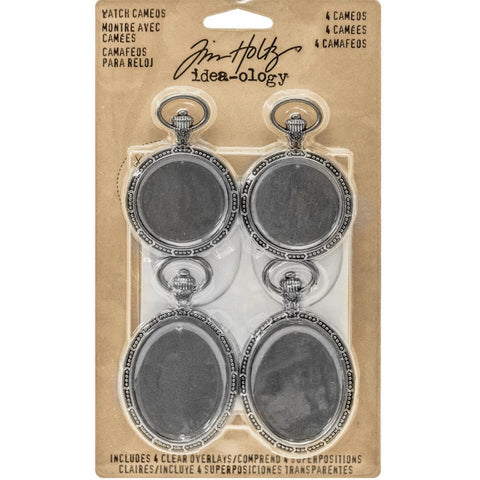 TIM HOLTZ: Idea-Ology Metal Watch Cameos 4pk (Antique Nickle)