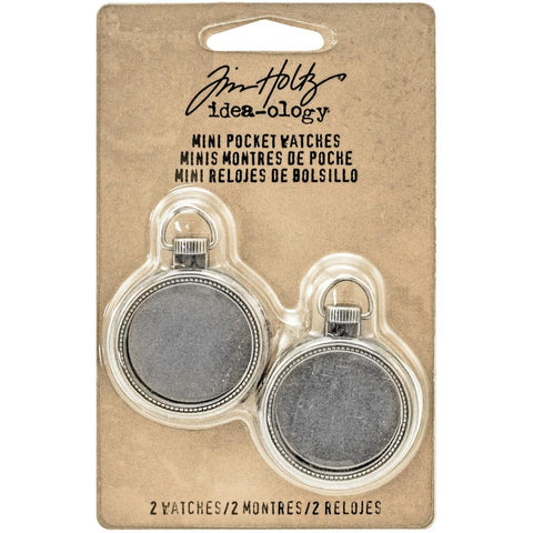 TIM HOLTZ: Idea-ology Mini Pocket Watch Frames: Antique Nickel 2pk