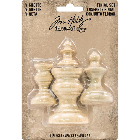 TIM HOLTZ: Idea-ology Wooden Vignette Finial Set 4pc