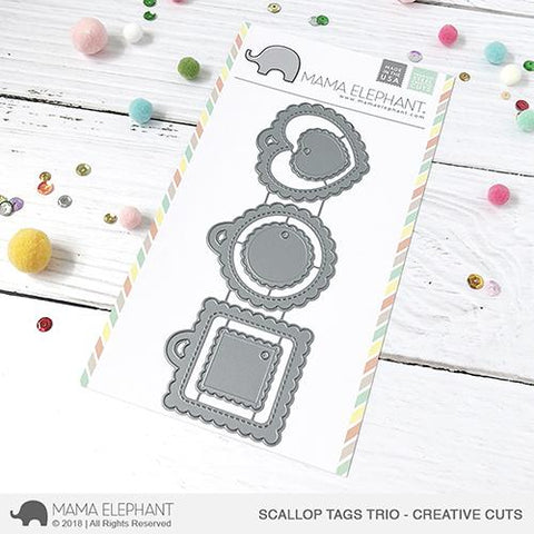MAMA ELEPHANT: Scallop Tags Trio Creative Cuts
