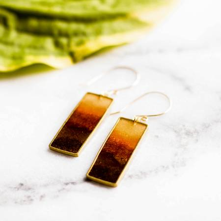 NO MAN'S LAND ARTIFACTS:  Autumn Honey Brass Earrings