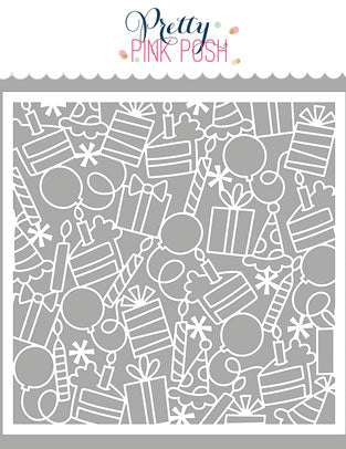 PRETTY PINK POSH:  Stencil (Birthday Background)