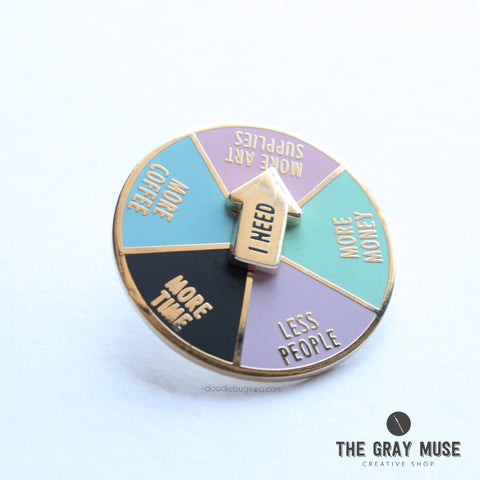 THE GRAY MUSE:  Enamel Pin - I Need Coffee Spinner