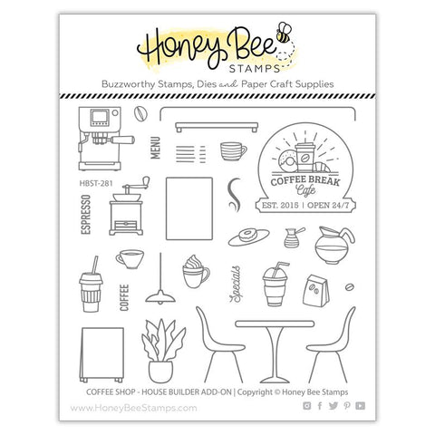 HONEY BEE STAMPS: Coffee Shop House Builder Add-On | Stamp