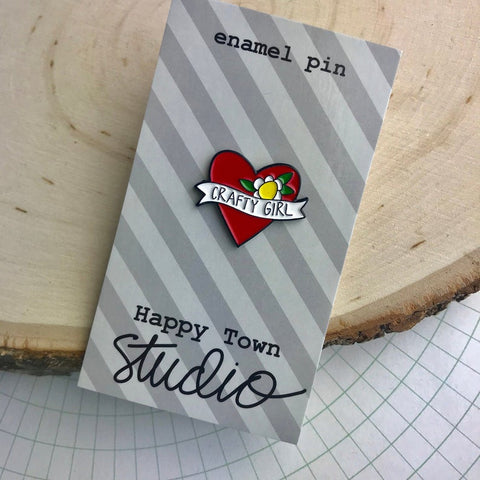 HAPPY TOWN STUDIO:  Enamel Pin - Crafty Girl