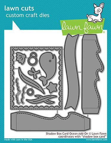 LAWN FAWN: Shadow Box Card Ocean Add-on Lawn Cuts Die