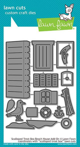 LAWN FAWN: Scalloped Treat Box Beach House Add-on Lawn Cuts Die