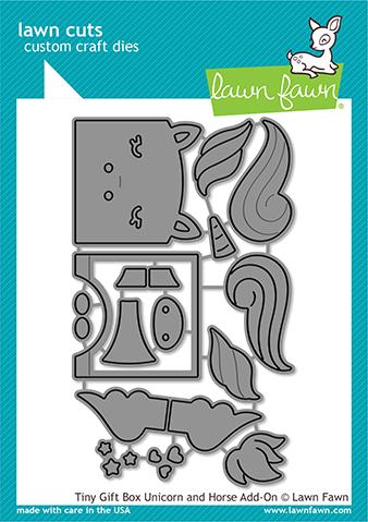 LAWN FAWN: Tiny Gift Box Unicorn & Horse Add-on | Lawn Cuts Die