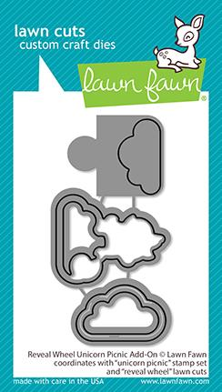 LAWN FAWN: Reveal Wheel Unicorn Picnic Add-on | Lawn Cuts Die
