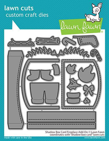 LAWN FAWN: Shadow Box Card Fireplace Add-on | Lawn Cuts Die.