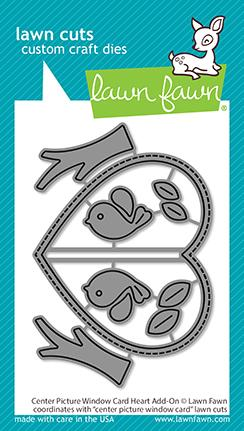 LAWN FAWN: Center Picture Window Card Heart Add-on | Lawn Cuts Die