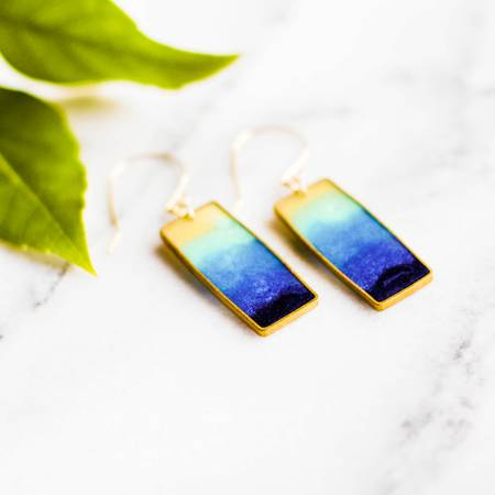 NO MAN'S LAND ARTIFACTS:  Lagoon Brass Rectangle Earrings