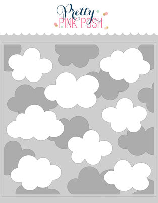 PRETTY PINK POSH:  Stencil | Layered Clouds - 2 pack