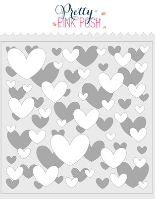 PRETTY PINK POSH:  Stencil (Layered Hearts 2 pack)