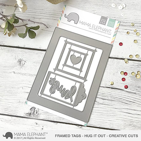 MAMA ELEPHANT: Framed Tags Hug It Out Creative Cuts