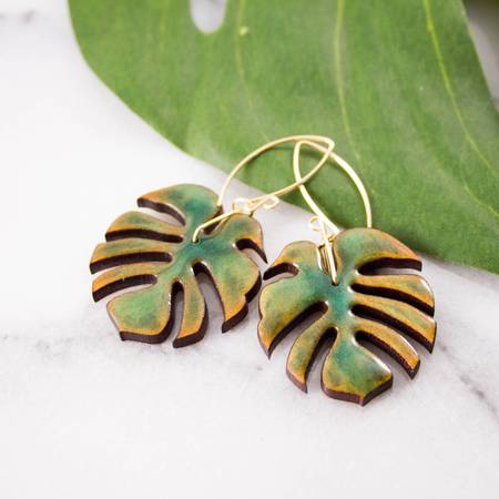 NO MAN'S LAND ARTIFACTS:  Monstera Leaf Wood + Resin Earrings