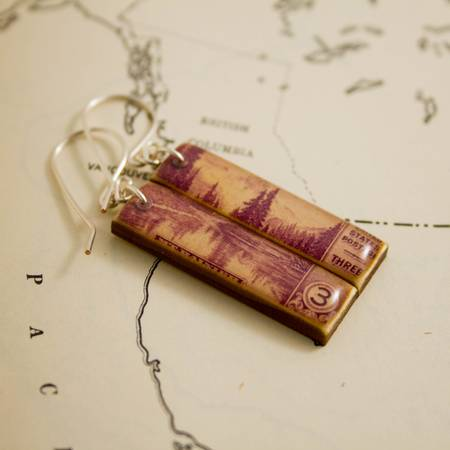 NO MAN'S LAND ARTIFACTS:  Mount Rainier Vintage Postage Earrings