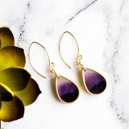 NO MAN'S LAND ARTIFACTS:  Plum Brass Raindrop Earrings