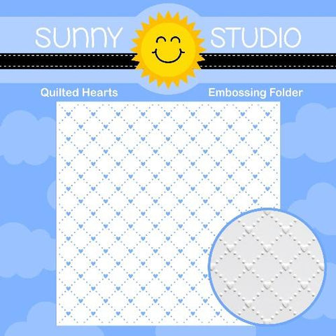 SUNNY STUDIO: Quilted Hearts Embossing Folder