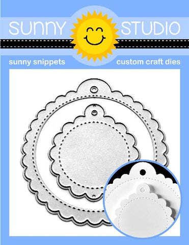 SUNNY STUDIO: Scalloped Tag - Circle Sunny Snippets