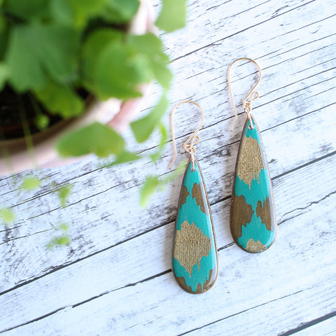 NO MAN'S LAND ARTIFACTS:  Teardrop Teal + Gold Indian Paper Earrings
