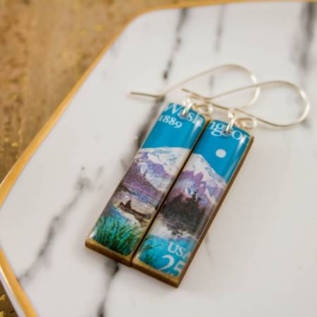 NO MAN'S LAND ARTIFACTS:  Washington State Vintage Postage Stamp Earrings