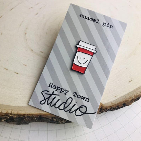 HAPPY TOWN STUDIO:  Enamel Pin - Happy Face Coffee Cup