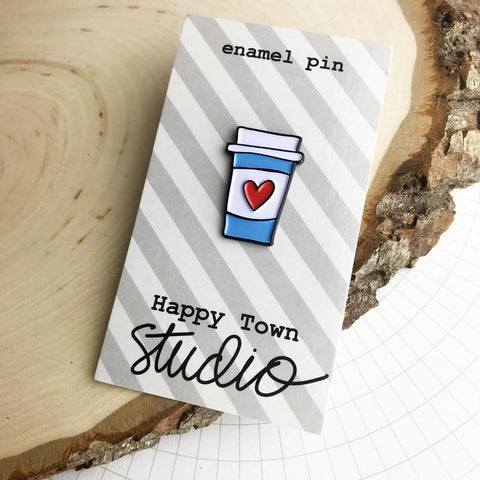 HAPPY TOWN STUDIO:  Enamel Pin - Heart Coffee Cup
