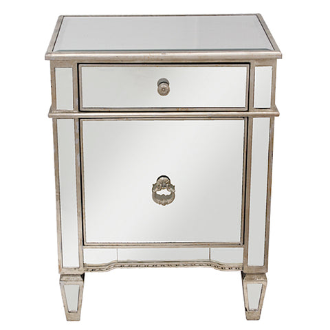 Mirrored Antique Bedside Cabinet