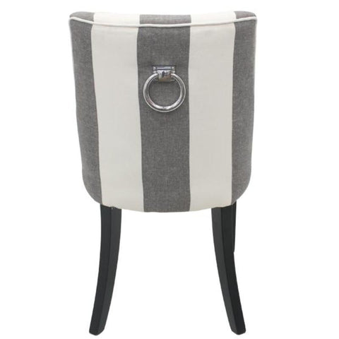 Ophelia Thick Charcoal Stripe Linen Dining Chair