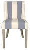 Ophelia Thick Blue and White Stripe Linen Dining Chair