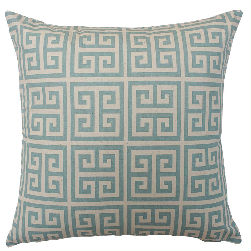 Aqua Greek Key Cushion
