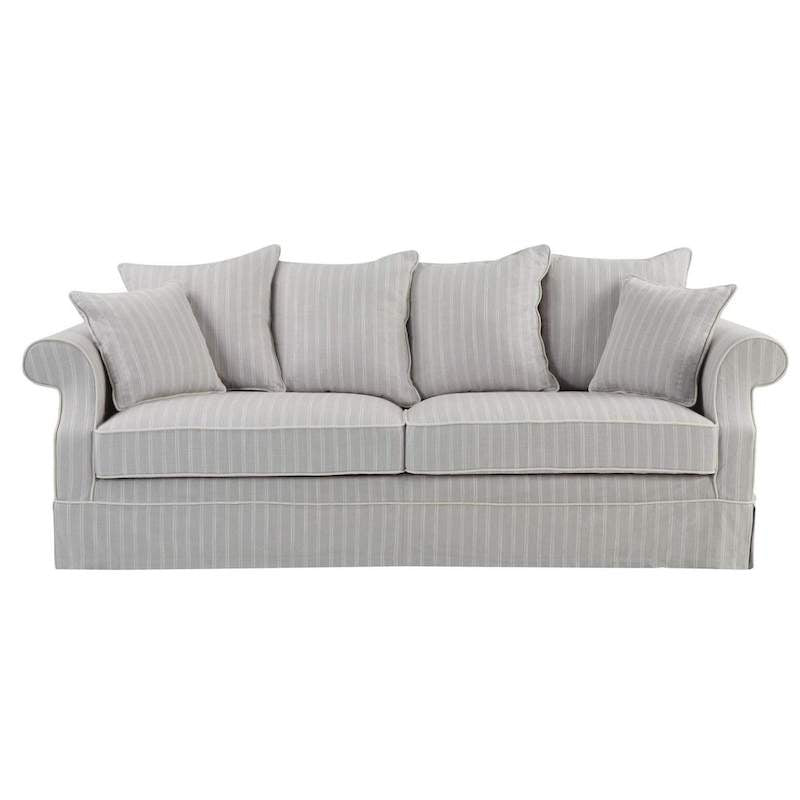Avalon Silver Grey Pin Stripe 3 Seat Sofa