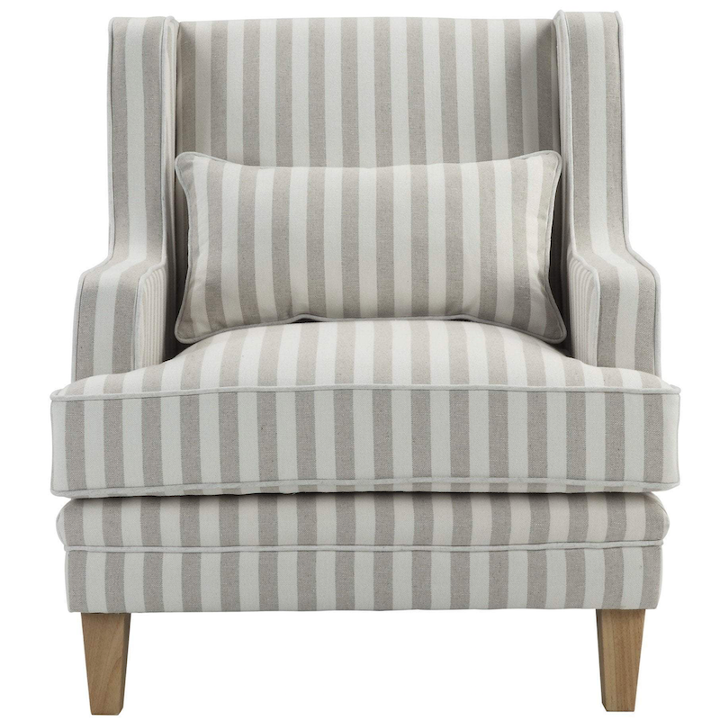 Bondi Natural Stripe Armchair with White Piping