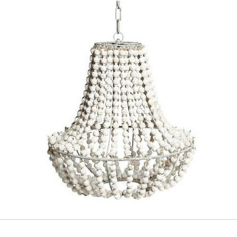 Whitewash Beaded Chandelier