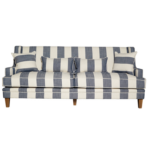Denim & Cream Wide Stripe 3 Seat Sofa