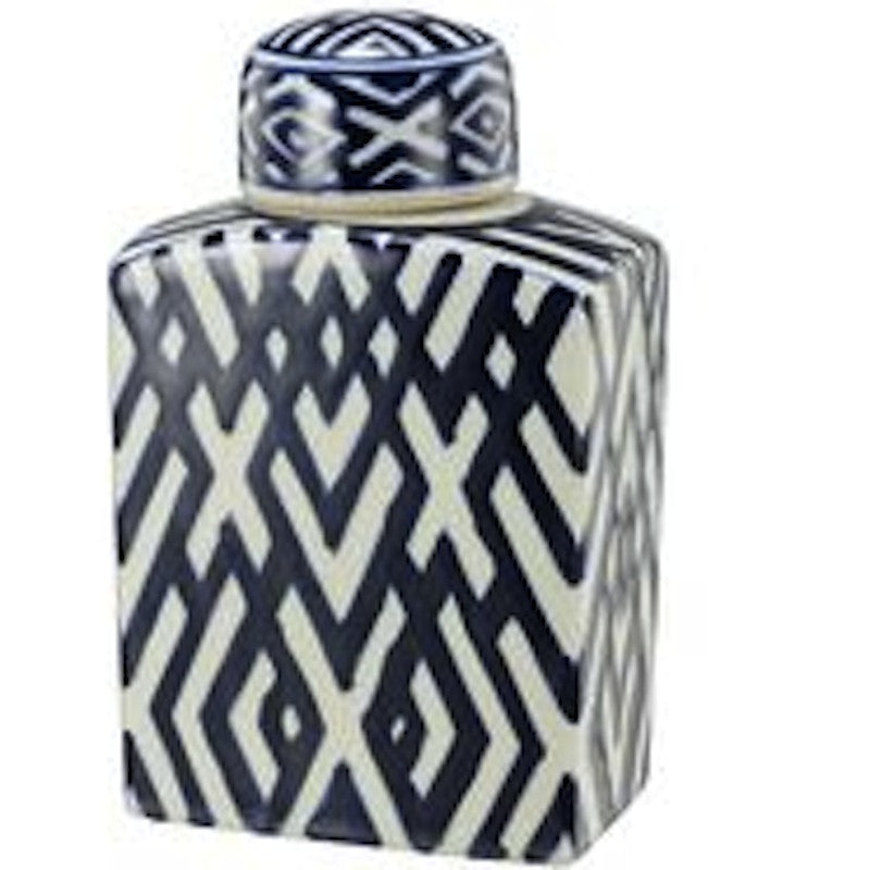 Blue & White Geometric Jar