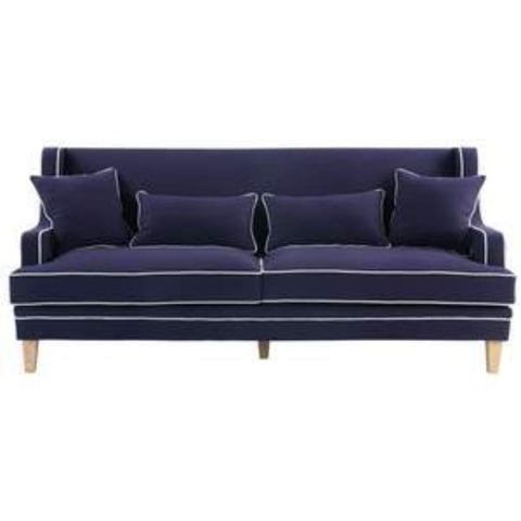 Bondi 3 Seat Sofa in Navy with White Piping