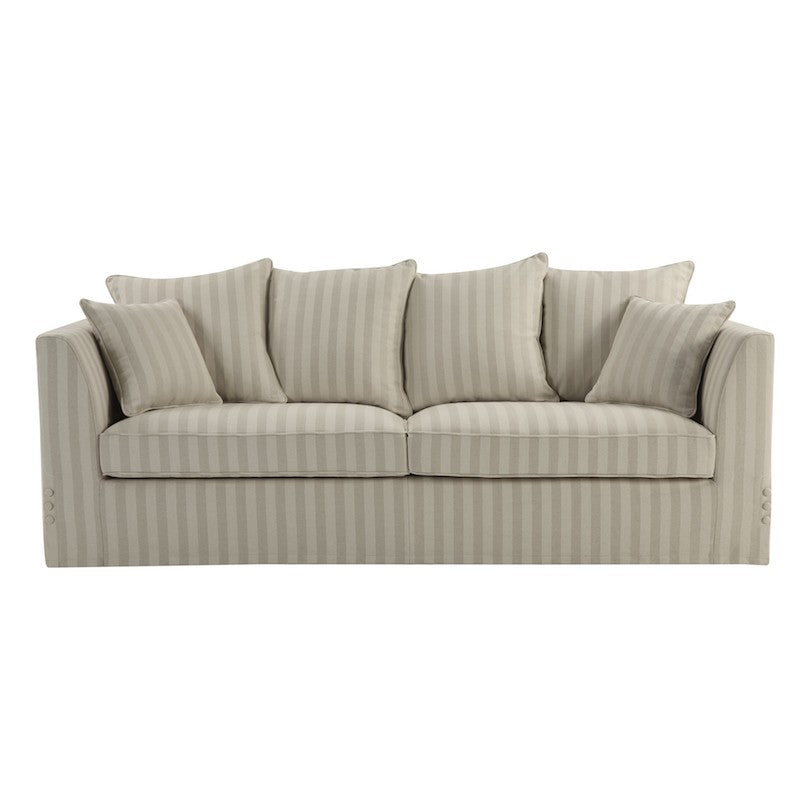 Natural Linen Blend Stripe 3 Seat Sofa