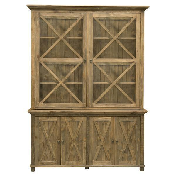 Sorrento Tall Glass Door Cabinet Natural